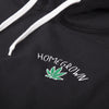 HomeGrown embroidered leaf logo Hoodie - Black