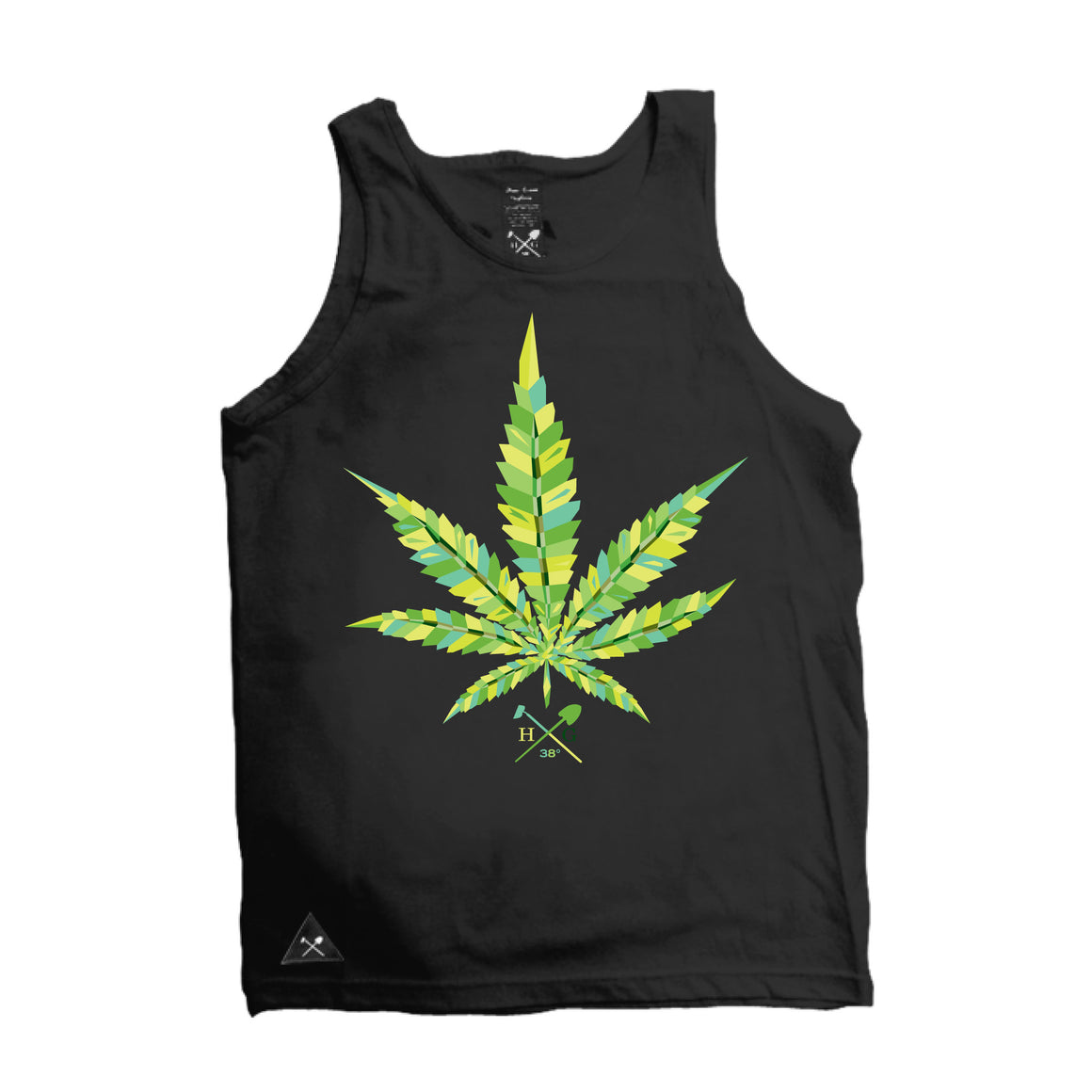 Virtual Leaf  Tank Top - Black