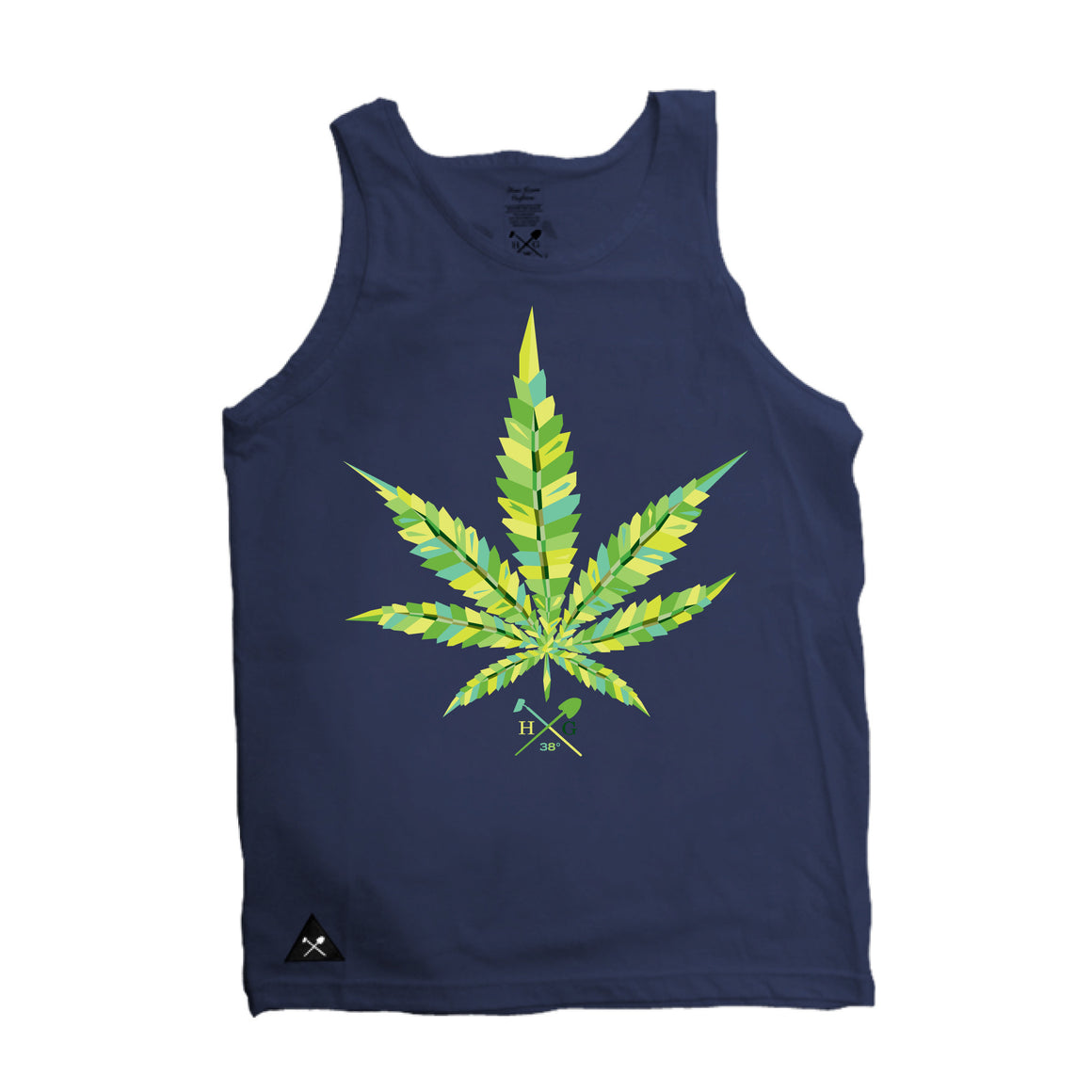 Virtual Leaf  Tank Top - Navy