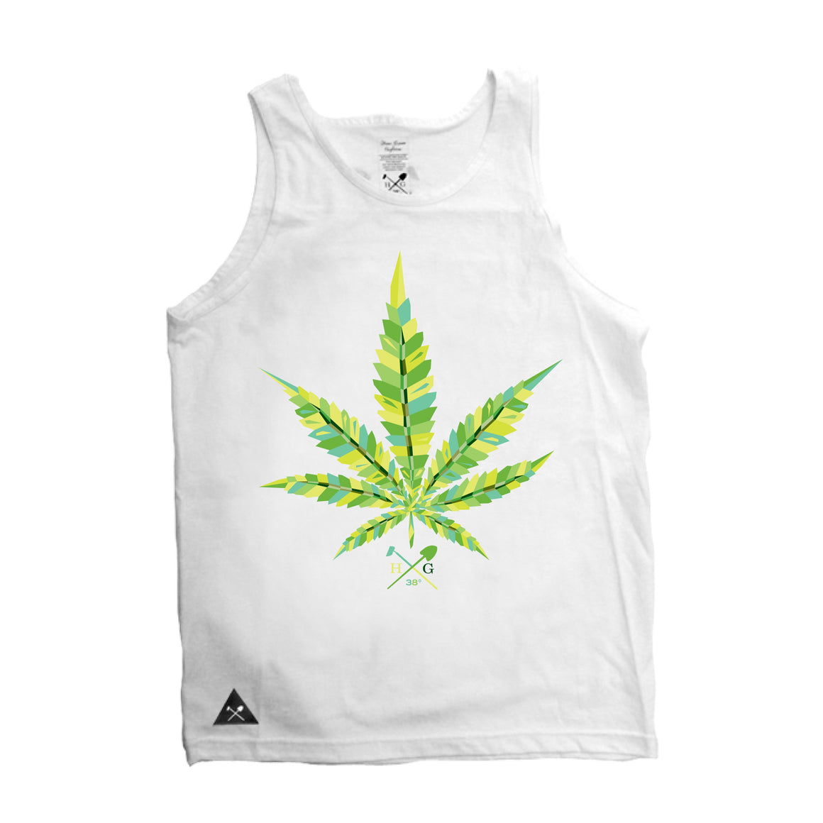 Virtual Leaf  Tank Top - White