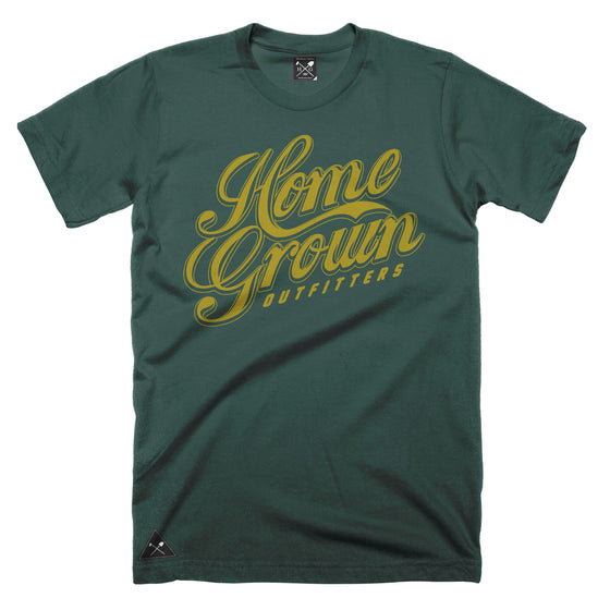 Gold Rush script t-shirt - Forest Green