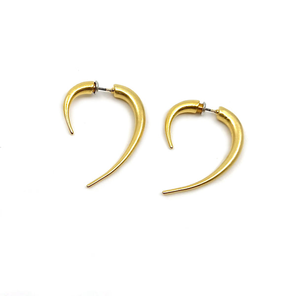 Double Sided Spike earrings-matte gold