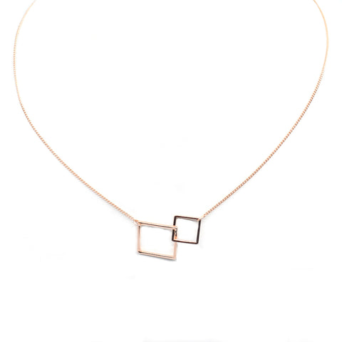 Interlock - square pendants necklace