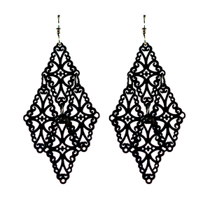 Gothic Lace earrings- matte black