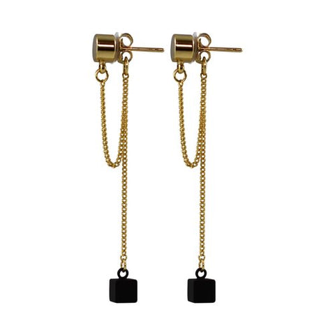 Rhythm dangle stud earring, gold with black chain