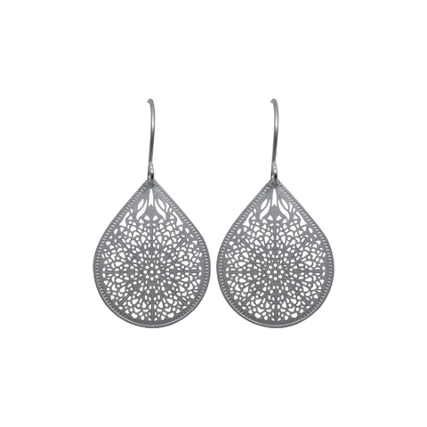 Rain Drop - matte silver, small, earrings