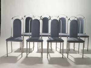 Set of eight chairs plexiglass and gunmetal by Maison Jansen 1970s