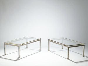 Polished nickel and brass coffee tables table Guy Lefevre for Jansen 1970's