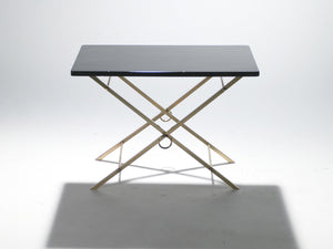 Lacquer and brass art deco side table 1960's
