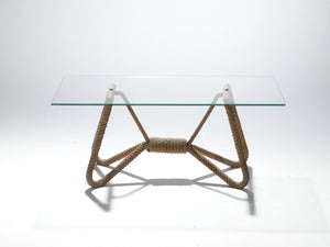 Audoux Minet rope and glass coffee table 1960's