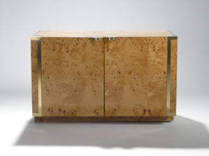 Pair of small burl and brass cabinets by J.C. Mahey 1970s