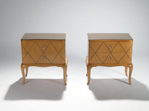 Mid-century René Prou sycamore brass nightstands side tables 1940s