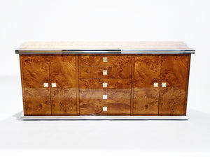 Willy rizzo burl chrome and brass small credenza 1970's