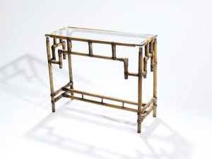 Bamboo and brass console table 1970's