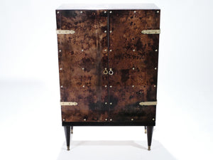 Bar cabinet in goatskin parchment by Aldo Tura 1960's