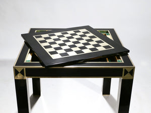 J.C. Mahey lacquered and brass game table 1970s