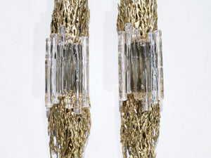 Large pair of Claude Victor Boeltz bronze and glass sconces 1970s