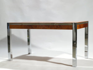 Willy rizzo burl chrome brass dining table 1970's