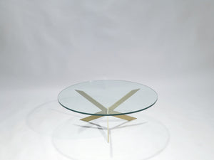 French Hollywood Regency brass glass top coffee table 1970s