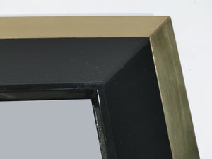 J.C. Mahey wall Mirror in black Lacquer and brass 1970