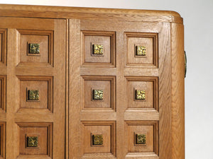 French art deco wardrobe in solid oak and brass 1940s