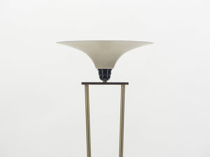 Mid-century Stilnovo brass and opaline floor lamp 1960's