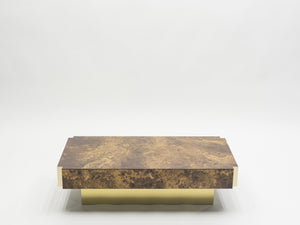 Rare golden lacquer and brass Maison Jansen coffee table 1970's