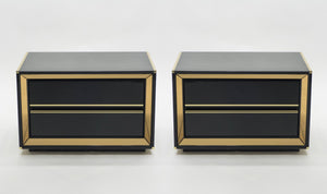 Pair of Italian Sandro Petti black lacquered brass mirrored nightstands tables 1970s