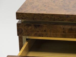 Large Burl lacquer and brass chest of drawers by J.C. Mahey 1970's