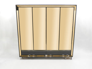 Large Italian Sandro Petti black lacquered brass mirrored wardrobe cabinet 1970s