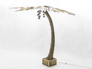 Rare large Palm tree floor lamp by Maison Jansen 1970's