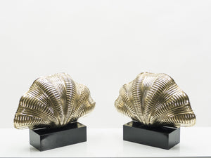 Italian mid-century Solid Brass Scallop table lamps 1960s