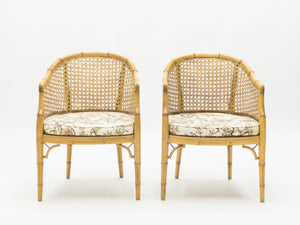Mid-Century Modern French Riviera Cane Bamboo Sofa and Armchairs 1960s