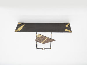 Pair of Jean-Jacques Argueyrolles console tables Wrought Iron Gold Leaf 1990