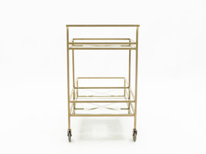 Jean Royère serving trolley gilded metal mirrored glass 1950