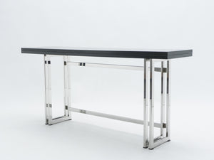 Italian Mid-century black lacquer chrome extending console table 1970s