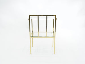 French brass two-tier glass end tables Attr. Marc Duplantier 1960s
