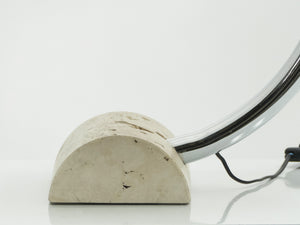 Italian Elio Martinelli Serpente chrome travertine table lamp 1960s