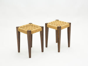 Pair of stools rope and oakwood by Audoux Minet 1950s
