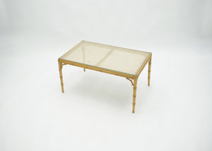 Mid-Century Modern French Riviera Cane Bamboo coffee table 1960s