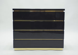 Pair of small black lacquer chest of drawers by J.C. Mahey 1970s