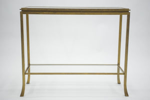 Rare Mid-century Roger Thibier gilt wrought iron gold leaf console table 1960s