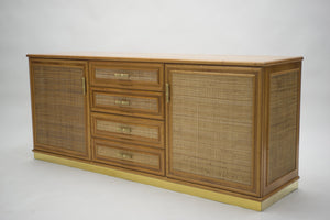 French Mid-century brass and bamboo sideboard 1970s