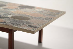 Large stones and brass coffee table by Torbjörn Afdal 1960's