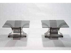Mid-century glass and steel end tables by François Monnet 1970s