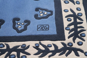 Blue tufted wool Rug by E. Garouste et M. Bonetti 1990's
