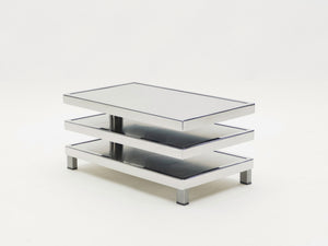 French Maison Mercier Three-tier chrome steel swivel coffee table 1970s