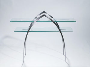Unique wrought iron and glass console c. 2000