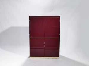 Red lacquer and brass cabinet by J.C. Mahey 1970s