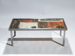 French Robert and Jean Cloutier ceramic coffee table 1950s